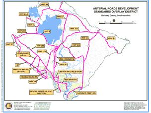 Sample Image of Arterial Roads Development Standards Overlay District Map