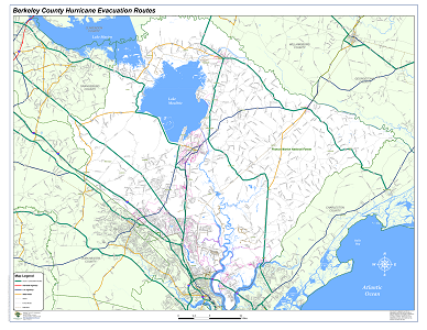 Sample Image of Berkeley County Hurricane Evacuation Routes Map