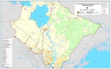 Sample Image of Berkeley County One Cent Sales Tax Road Improvement Projects Map
