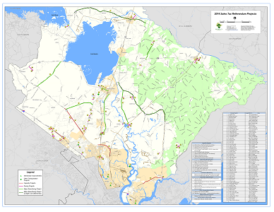 Sample Image of 2014 Sales Tax Referendum Projects Map (Road Improvements)