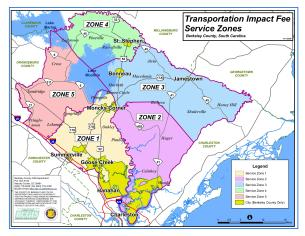 Sample Image of Berkeley County Transportation Impact Fee Services Zones Map
